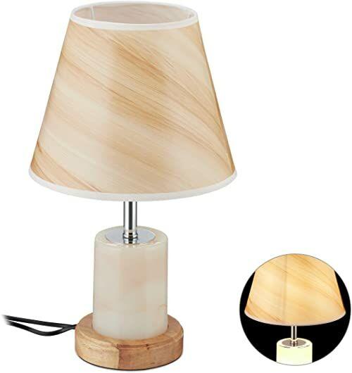 Relaxdays Lampa stołowa, z podwójnym światłem, E27, 12 diod LED, wygląd marmuru i drewna, stolik nocny, salon, wys. x śr. 42 x 25 cm, brązowa