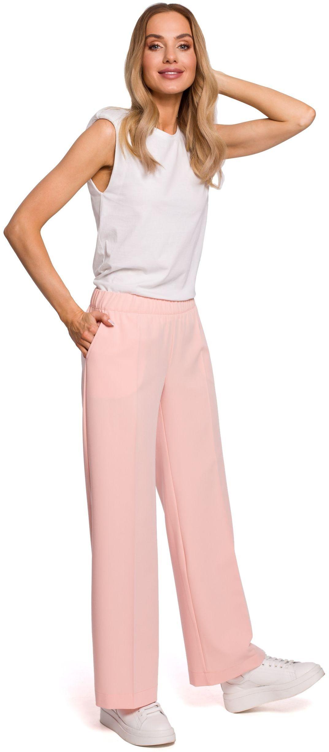Materiałowe spodnie na gumie z prostymi nogawkami - pudrowe