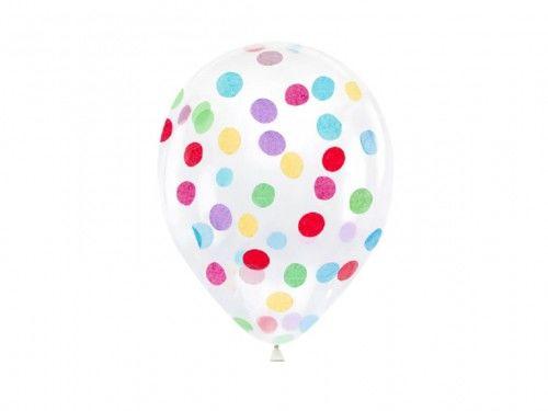 Balony przeźroczyste z okrągłym konfetti, 6 szt.