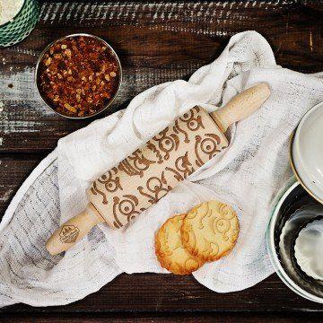 Emotki - MINI grawerowany wałek do ciasta