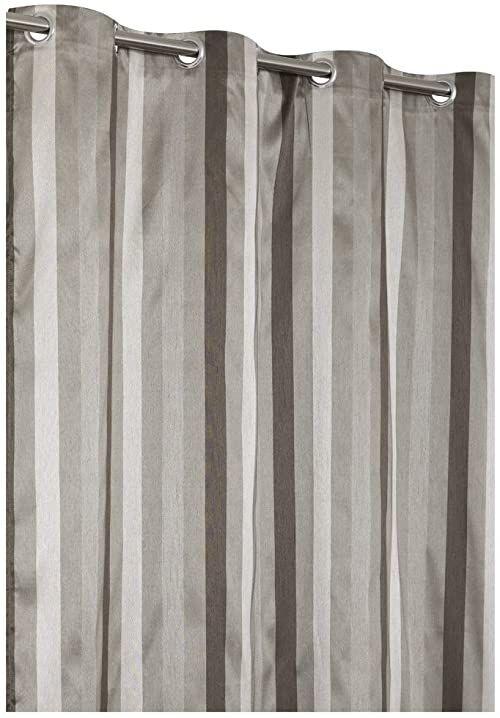 Rideaudiscount Stylowa zasłona designerska, 135 x 240 cm, wielokolorowe paski, taupe