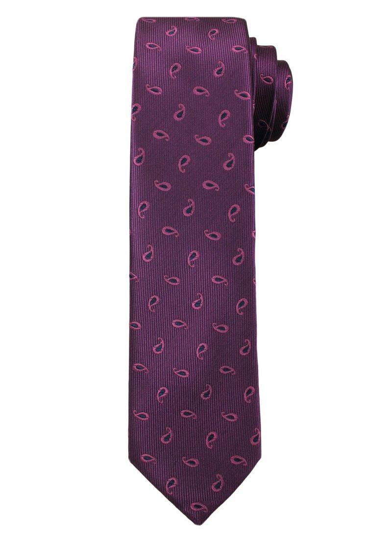 Fioletowy Elegancki Męski Krawat -ALTIES- Wzór Paisley KRALTS0205