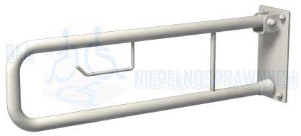 Poręcz łukowa uchylna UR6p, długość 60 cm, dla niepełnosprawnych, przy WC, z miejscem na papier toaletowy
