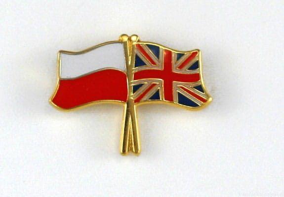 Flaga Polska - Wielka Brytania, przypinka