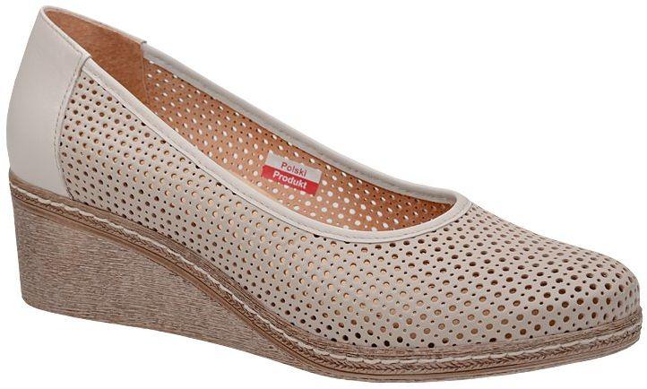 Półbuty AXEL Comfort 1818 Kremowe Ecru buty na haluksy na koturnie