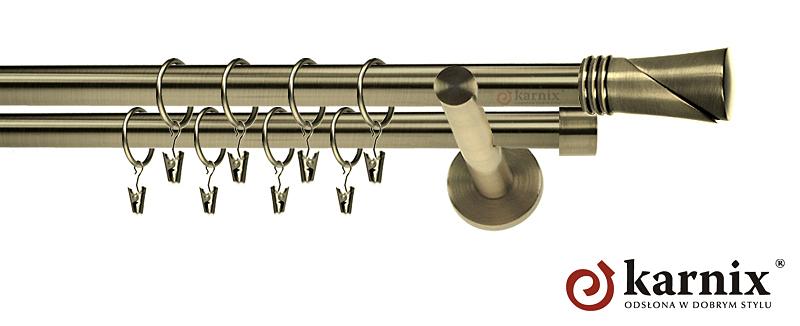 Karnisze nowoczesne NEO podwójny 19/19mm Loca antyk mosiądz