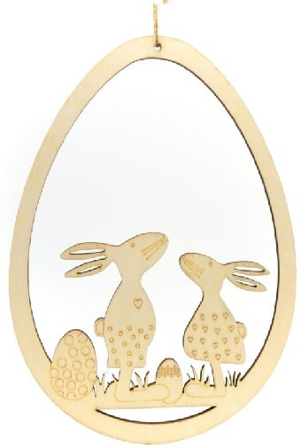 Drewniane jajka zawieszki z zajączkami 25cm 1szt CDW-8703-zajączki