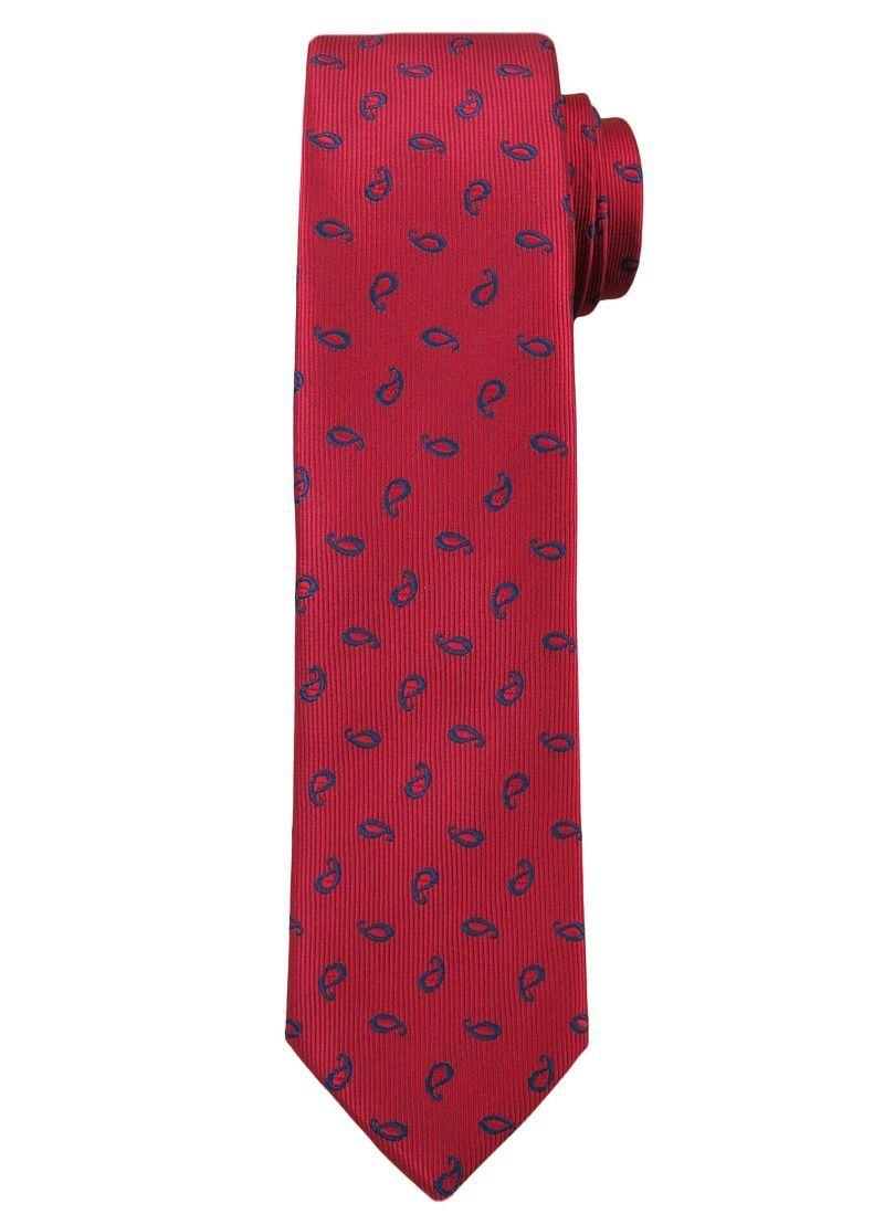 Czerwony Elegancki Męski Krawat -ALTIES- w Granatowy Wzór Paisley KRALTS0204