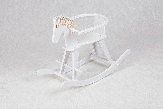 """Koń na biegunach """"Biały grzywacz"""", zabawka drewniana"""