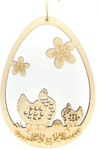 Drewniane jajka zawieszki z kurą 25cm 1szt CDW-8703-kura