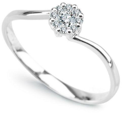Staviori pierścionek z 9 diamentami, szlif brylantowy, masa 0,12 ct., barwa g, czystość si1. białe złoto 0,750.