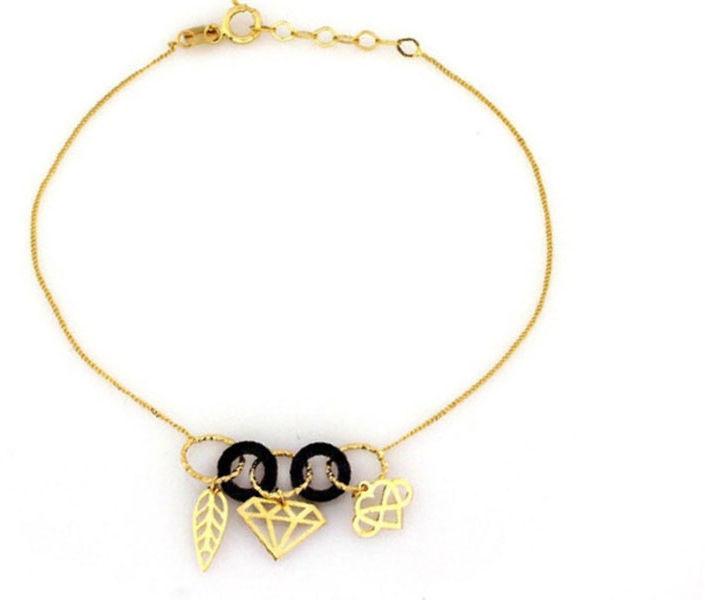 Złota bransoletka 585 zawieszki diamencik infinity