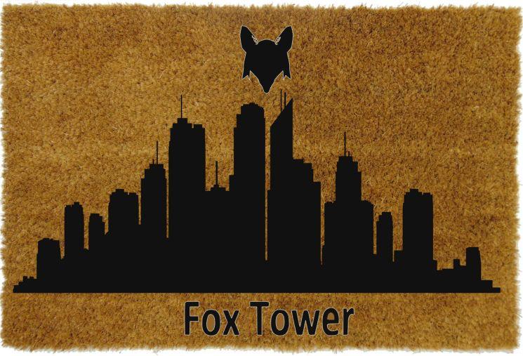 Wycieraczka panorama wieżowce, wycieraczka z grafiką