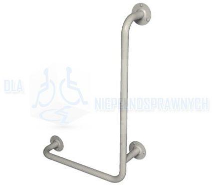 """Poręcz kątowa typu """"L"""", 40 x 60 cm, lewa, UKL, dla niepełnosprawnych, mocowana do ściany, przy WC, prysznicu"""
