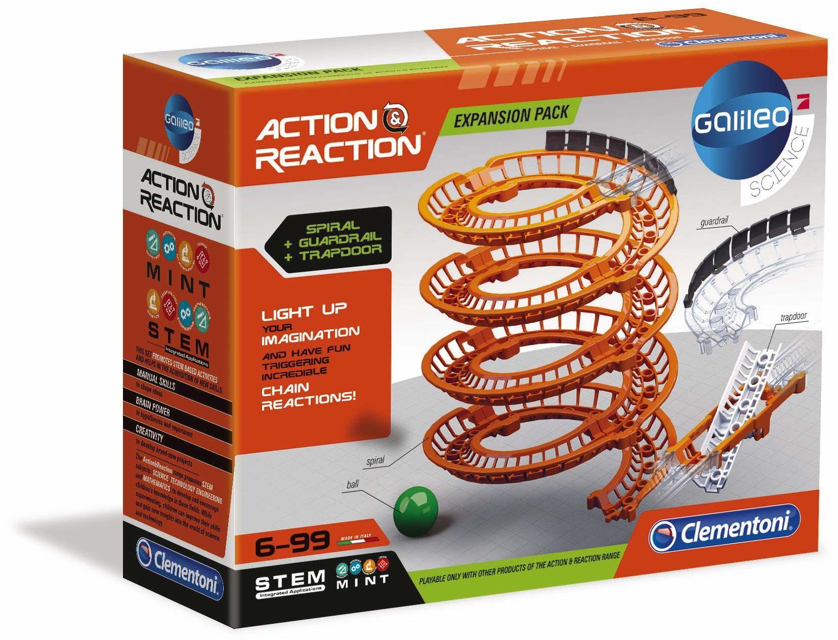 Clementoni 59169 Galileo Science  Action & Reaction szyny spiralne, drzwi spadające i listwy dachowe, spektakularne akcesoria do toru kulowego, zabawka dla dzieci od 6 lat