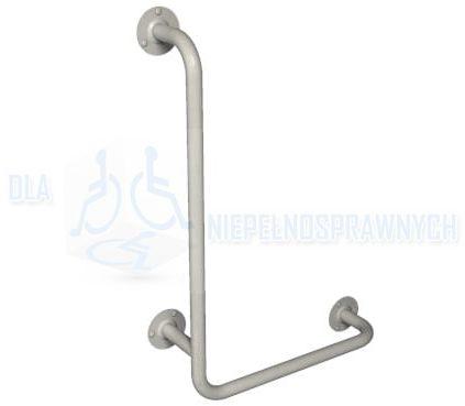"""Poręcz kątowa typu """"L"""", 40 x 80 cm, prawa, UKP 8/4, dla niepełnosprawnych, mocowana do ściany, przy WC, prysznicu"""