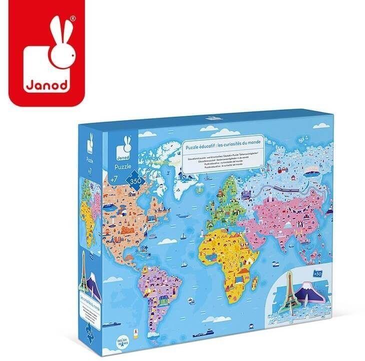 Puzzle edukacyjne z figurkami 3d cuda świata 350 elementów 7 +, janod