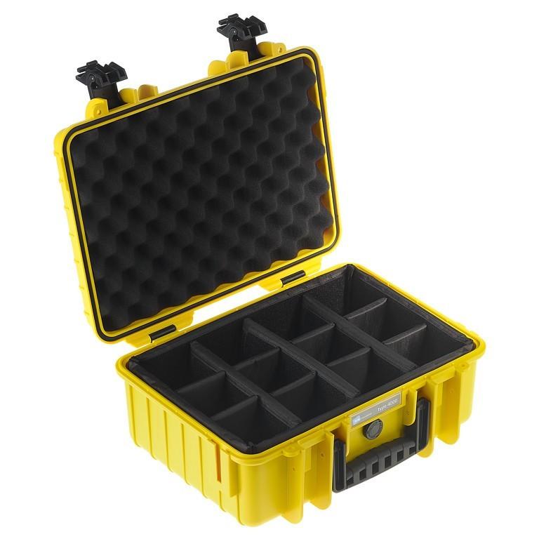 Walizka transportowa B&W outdoor.cases Typ 4000 RPD z przegrodami Żółta