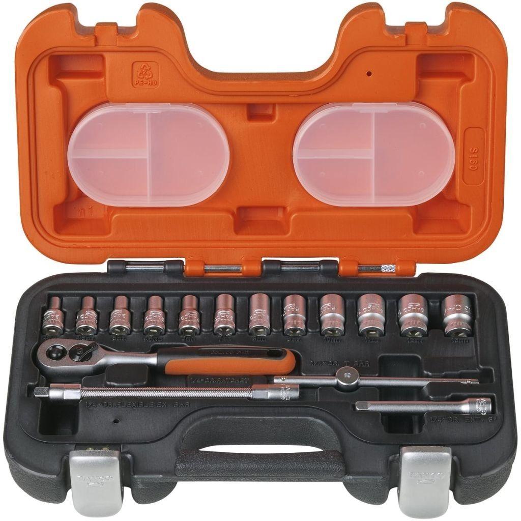 """zestaw kluczy nasadowych 6-kątnych 1/4"""" 16szt. BAHCO [S160]"""