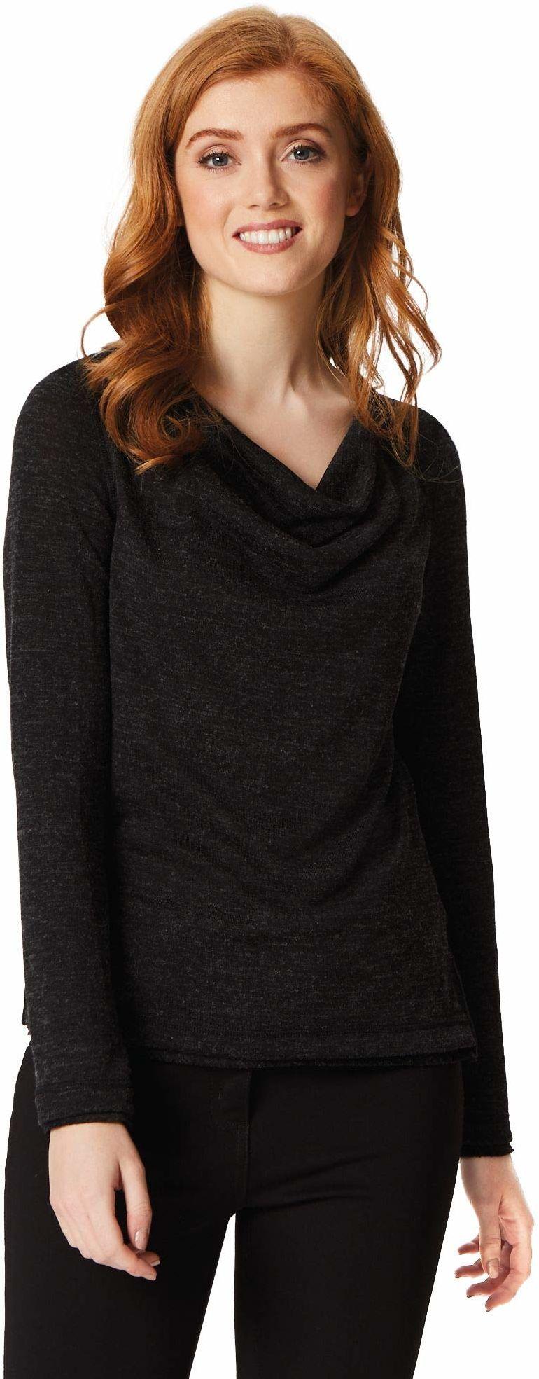 Regatta damska Frayda lekka wełniana czapka pod szyję długi rękaw top T-shirty/koszulki polo/kamizelki Czarny Size: 8