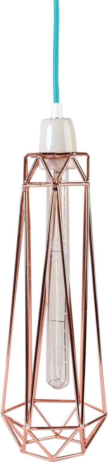 Filament Style Filament 008P francuska lampa retro Loft Diamond #2 z kablem tekstylnym w kolorze niebieskim metal E27, 43 x 12 cm, brąz