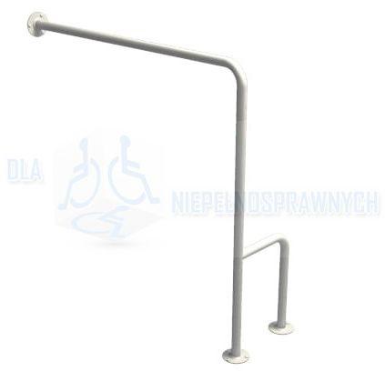 """Poręcz typu """"H"""", lewa, UWCL, dla niepełnosprawnych, mocowana do podłogi i ściany, przy WC"""