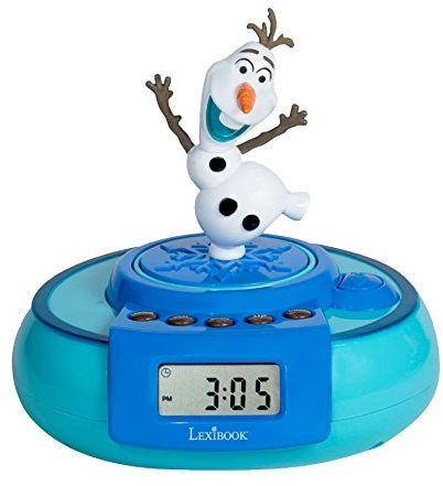 Lexibook Disney Frozen Elsa, Olaf Jumper Budzik, przycisk demonstracyjny, funkcja drzemki, bateria, niebieski/biały, RL985FZ