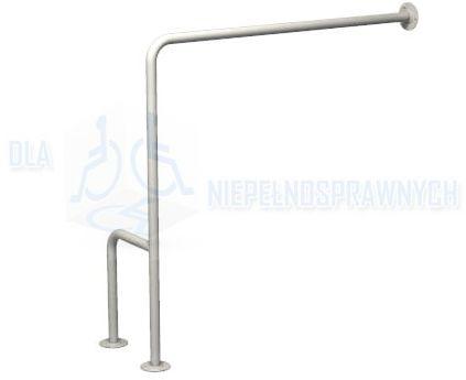 """Poręcz typu """"H"""", prawa, UWCP, dla niepełnosprawnych, mocowana do podłogi i ściany, przy WC"""