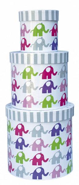 Jabadabado - Okrągłe Pudełka Różowe Słonie