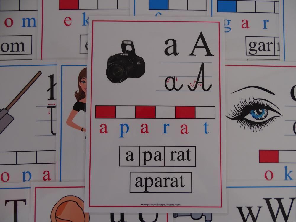 Alfabet obrazkowo-słowny - karty edukacyjne wersja 3 z kierunkiem pisania liter