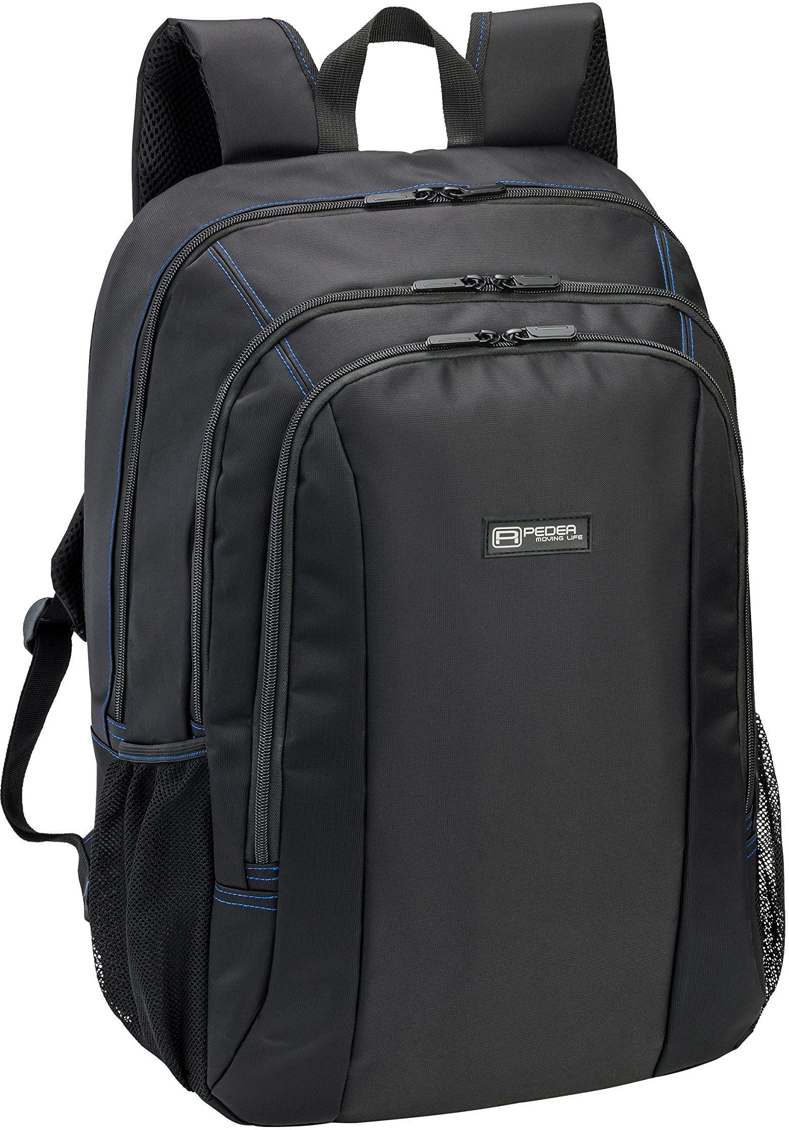 "PEDEA Plecak dla graczy ""First One"" laptop notebook plecak do 17,3 cala (43,9 cm) pasuje do Asus, Dell, MSI - wodoodporny, czarny/niebieski"