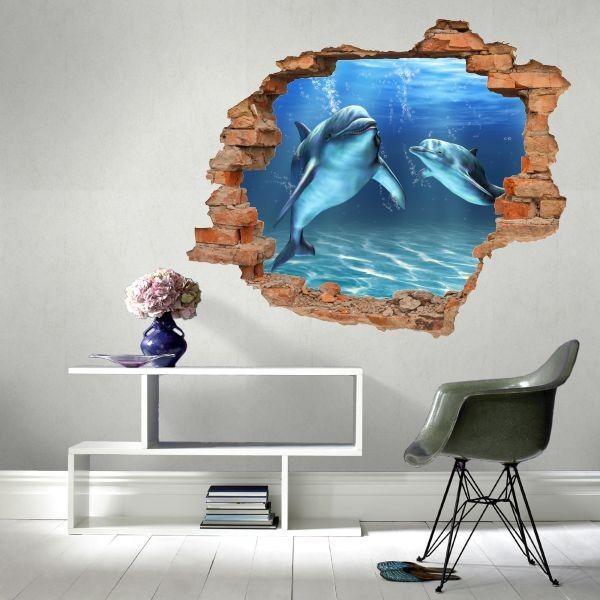 Naklejka dziura z delfinami