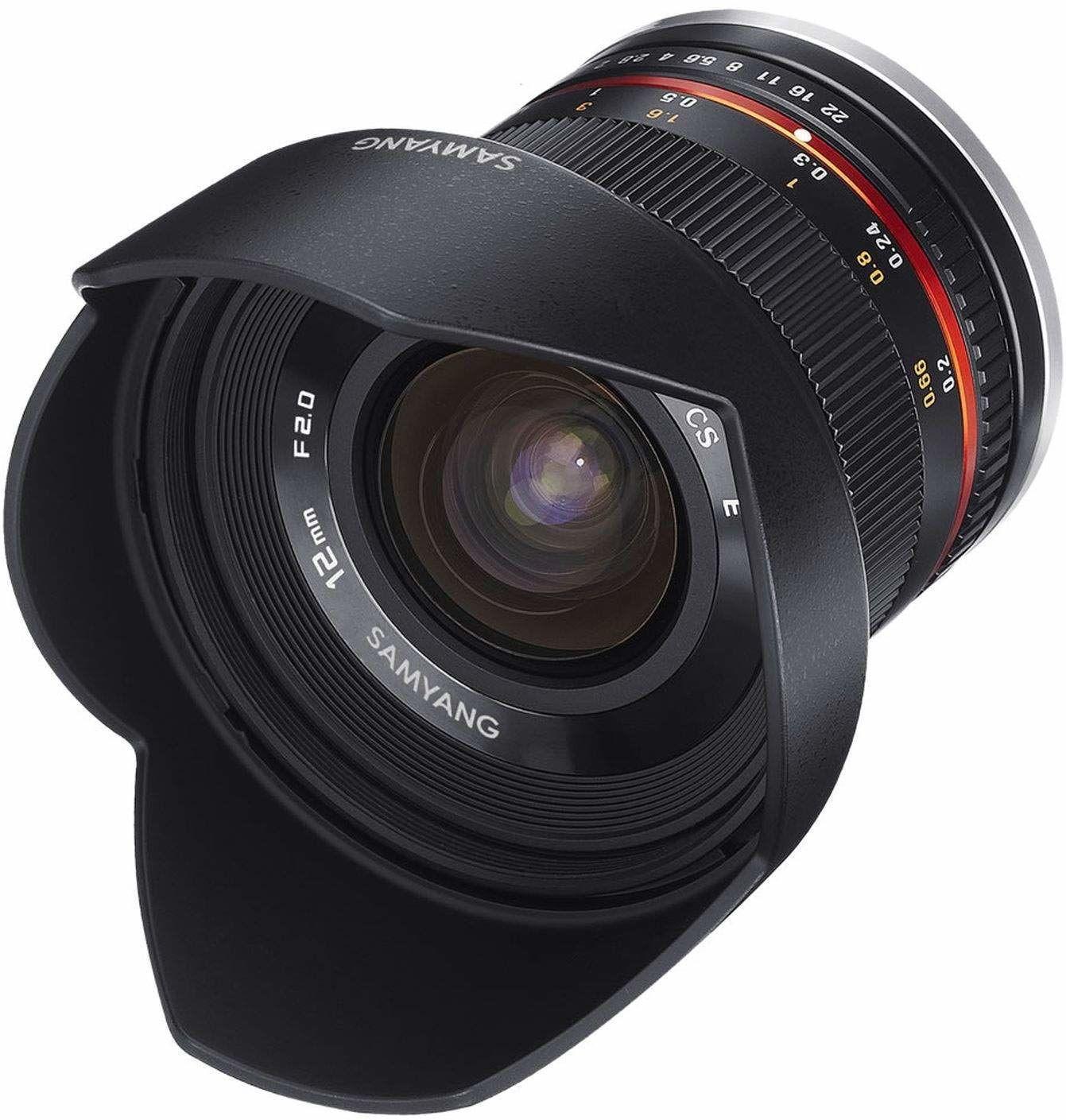 Samyang 12 mm F2.0 APS-C Canon M czarny - APS-C szerokokątny obiektyw zmiennoogniskowy do Canon M, ręczna regulacja ostrości, do aparatu EOS M6 Mark II, EOS M50, EOS M200, EOS M100, EOS M10, EOS M6 II