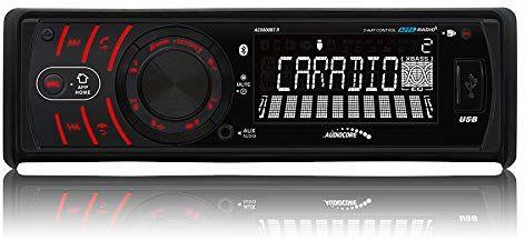 Audiocore AC9800R BT radio samochodowe Bluetooth radio samochodowe USB 16 GB MMC SD MP3 WMA RDS Android iPhone wyświetlacz LCD 4 x 40 W niebieski czerwony biały (czerwony)