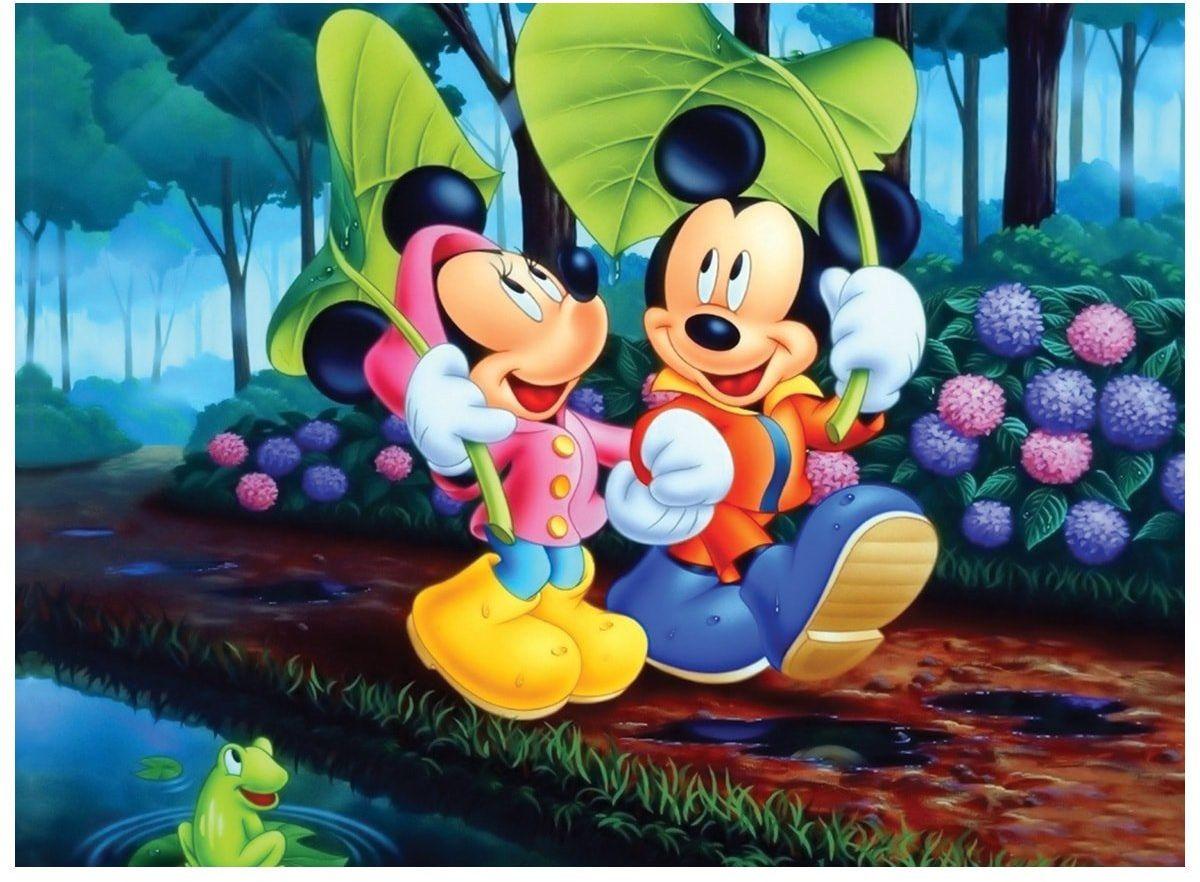 Dekoracyjny opłatek tortowy Myszka Miki i Mini - A4