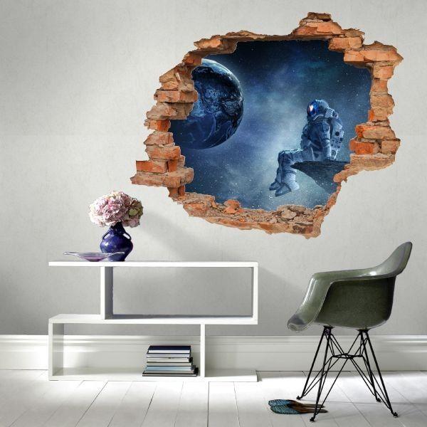 Naklejka dziura z kosmonautą