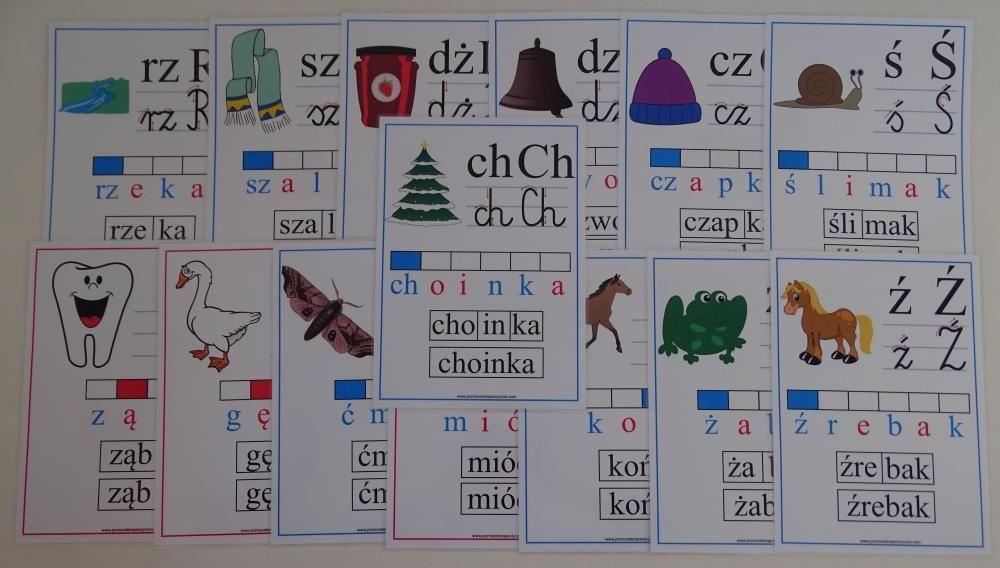 Alfabet słowno-obrazkowy dwuznaki i znaki diakrytyczne z kierunkiem pisania