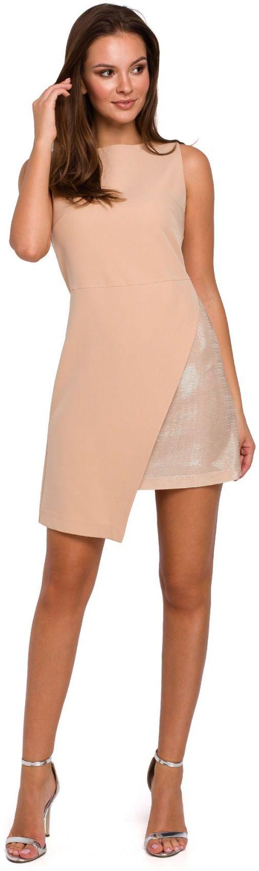 K014 Krótka sukienka dwuwarstwowa - beżowa