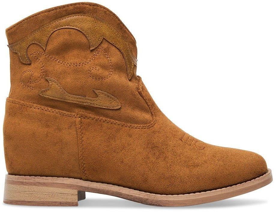 Wegańskie Kowbojki damskie Ideal Shoes G-7682 Brązowe