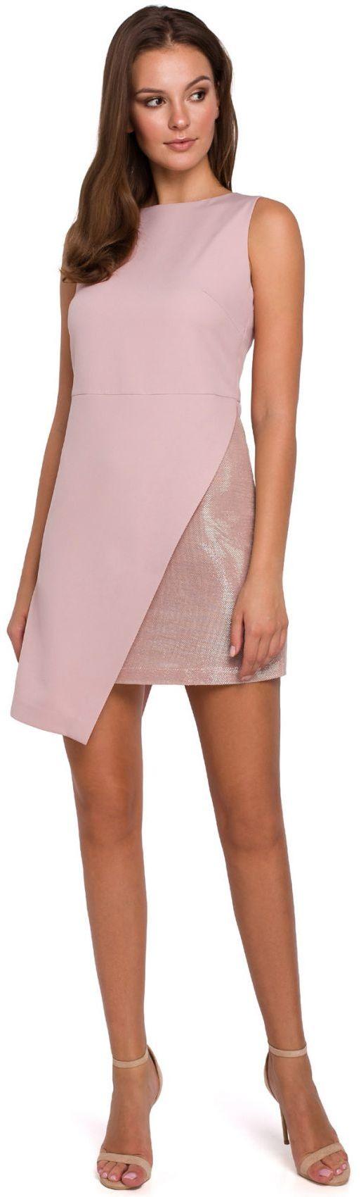 K014 Krótka sukienka dwuwarstwowa - brudny róż