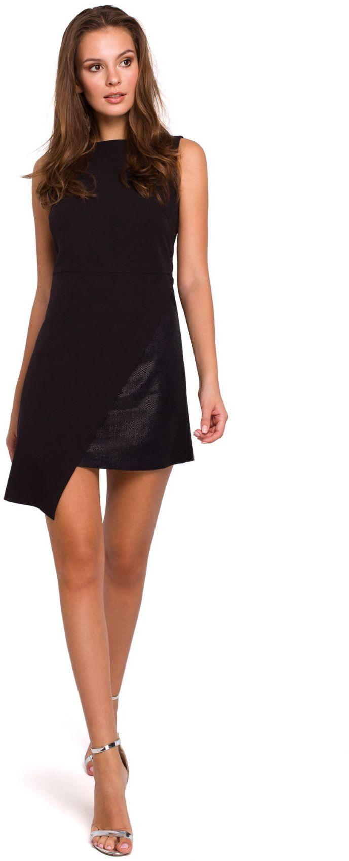 K014 Krótka sukienka dwuwarstwowa - czarna