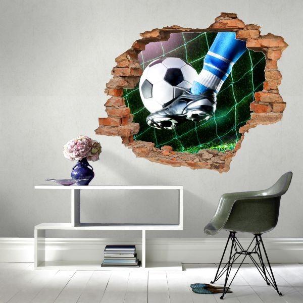 Naklejka dziura z piłką nożną