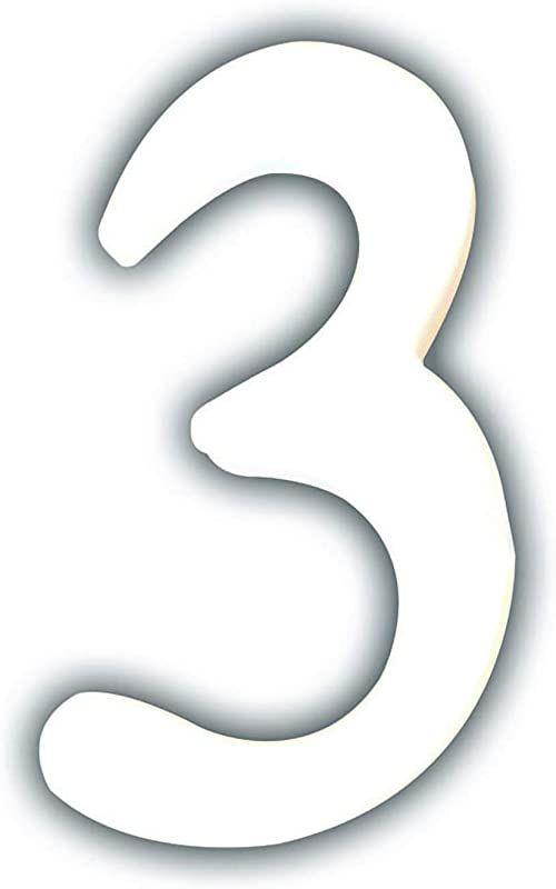Décopatch AC343O cyfra 3 małe z masy papierowej, 1,5 x 7,3 x 12 cm, do zdobienia, biała