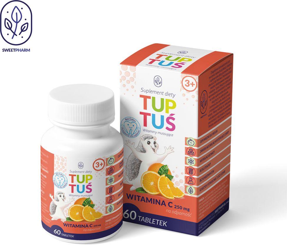 Witamina c o smaku pomarańczowym na odporność dla dzieci od 3 roku życia 60 tabletek musujących - tuptuś