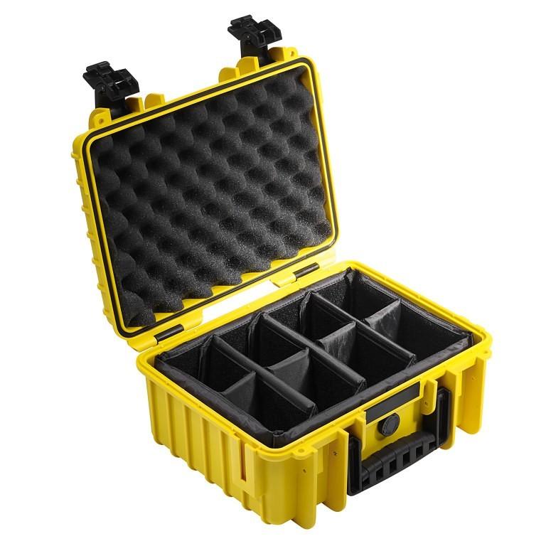 Walizka transportowa B&W outdoor.cases Typ 3000 RPD z przegrodami żółta