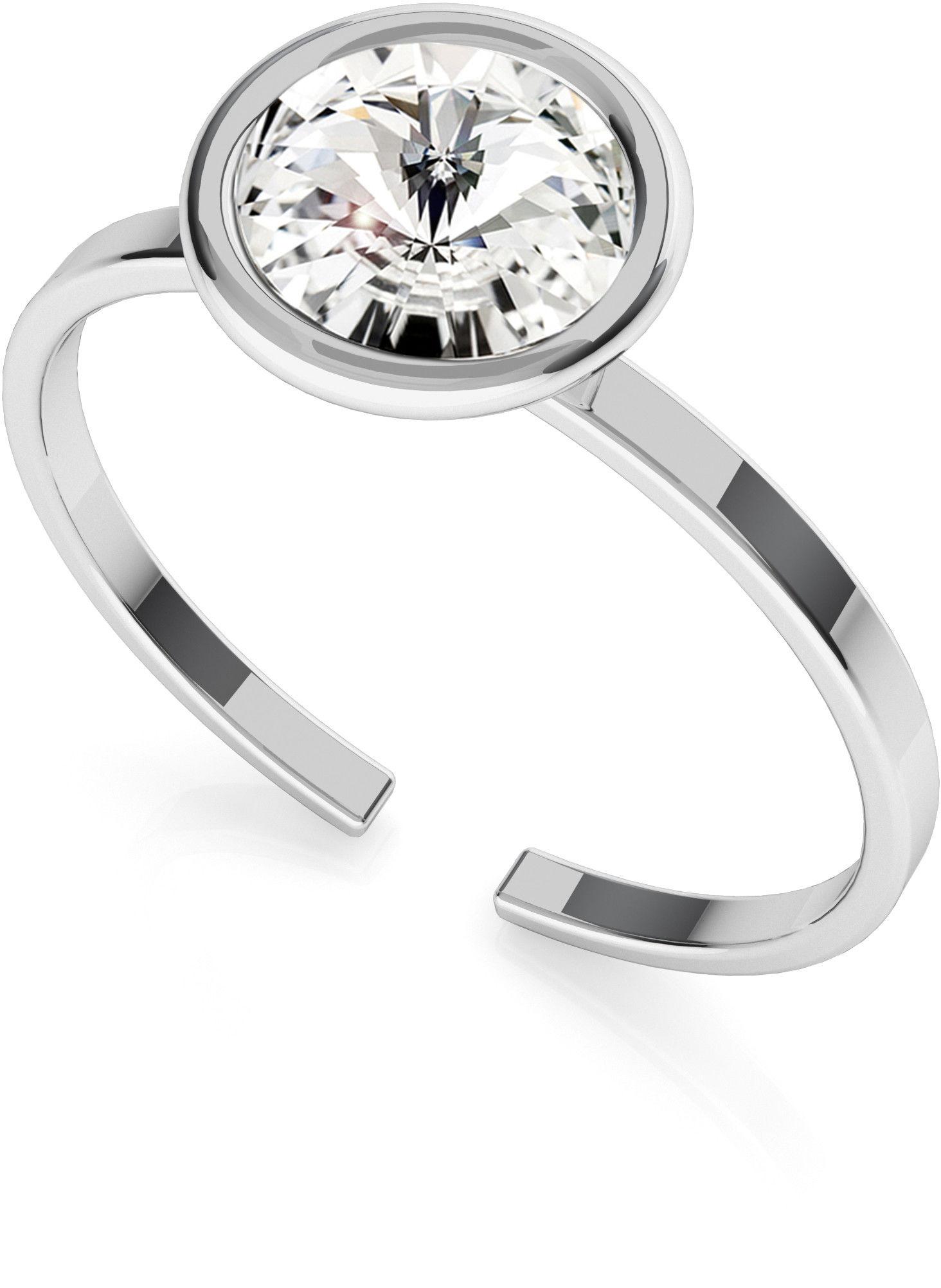 Srebrny pierścionek z kryształem Rivoli My RING, srebro 925 : Srebro - kolor pokrycia - Pokrycie platyną, SWAROVSKI - kolor kryształu - Crystal