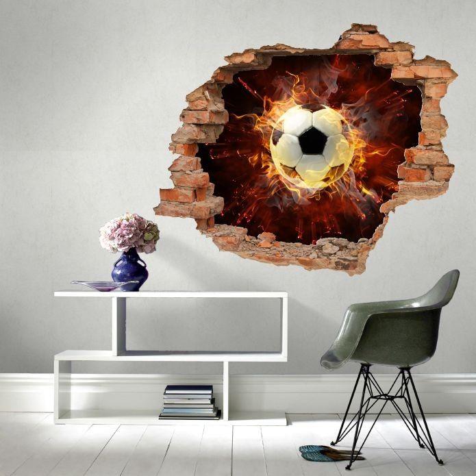 Naklejka dziura z piłką w płomieniach