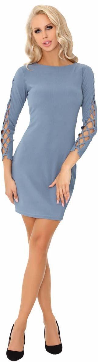 Niebieska ołówkowa mini sukienka z dekoracyjną aplikacją na rękawach