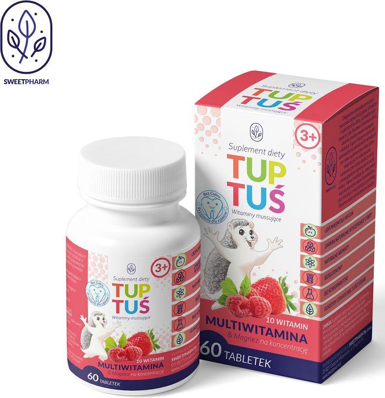 Multiwitaminy z magnezem o smaku truskawkowo - malinowym na koncentrację dla dzieci od 3 roku życia 60 tabletek musujących - tuptuś