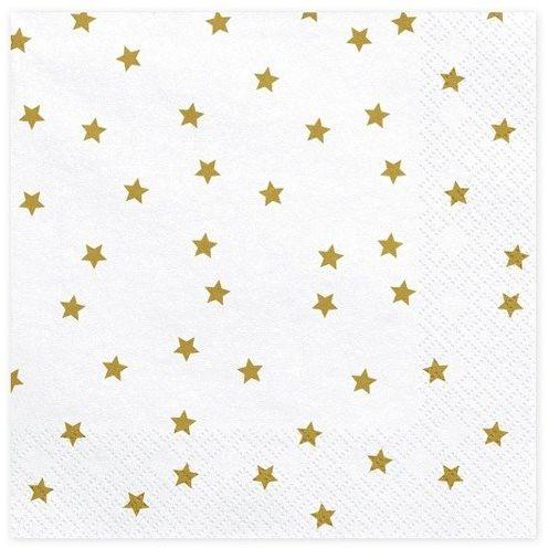 Białe serwetki w złote gwiazdki 33cm 20 sztuk SP33-39-019